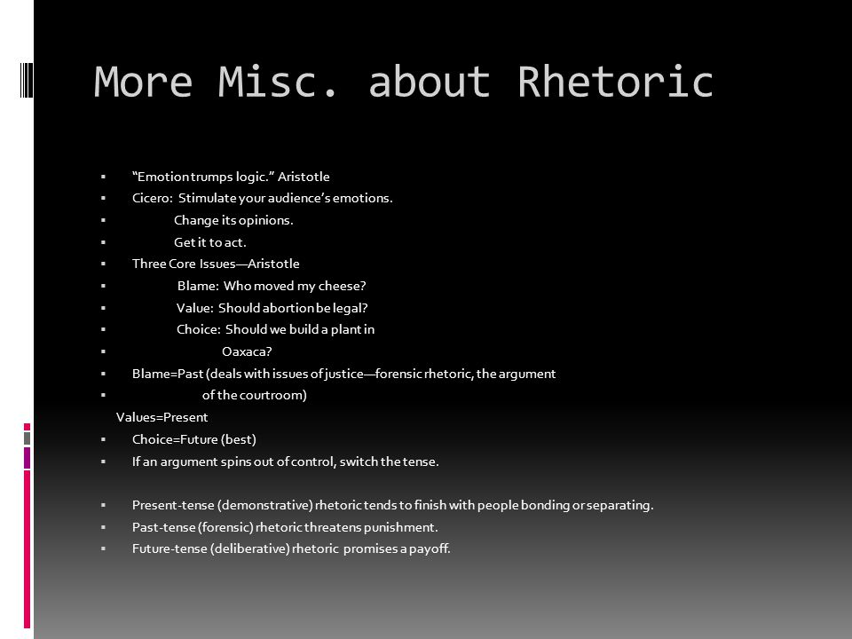 More Misc. about Rhetoric