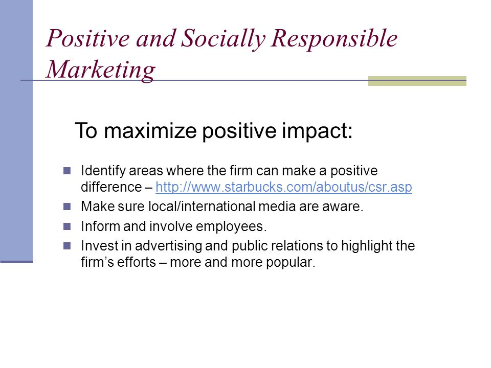 Positive and Socially Responsible Marketing