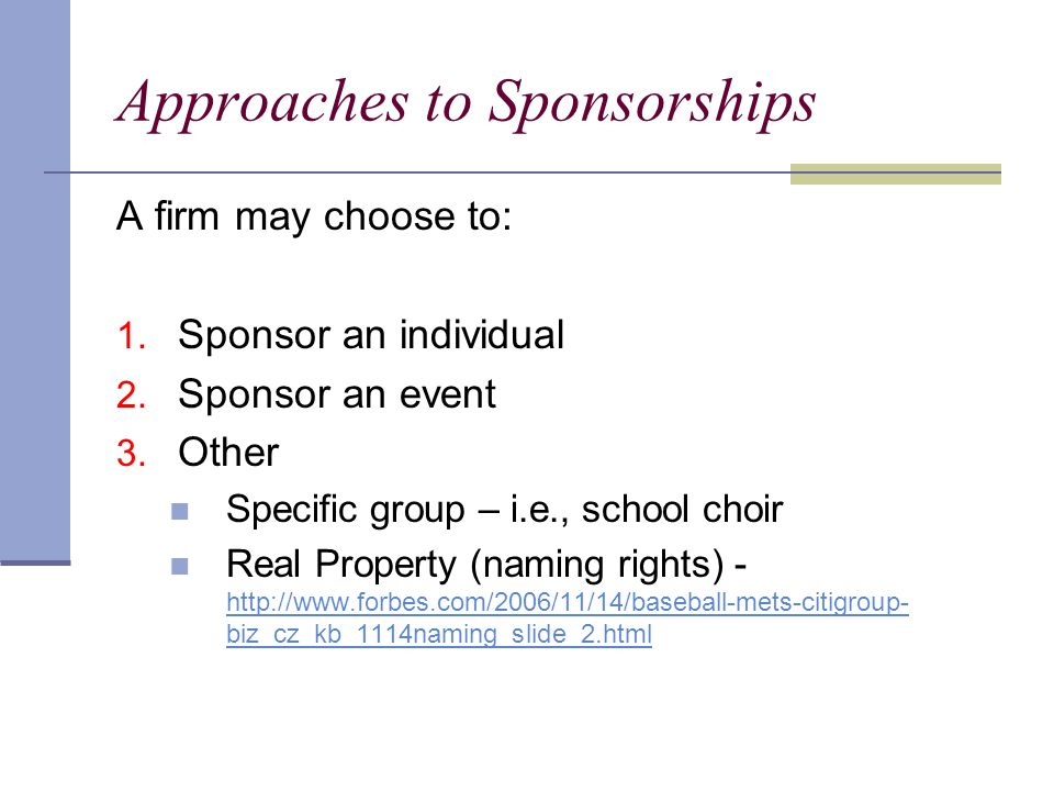 Approaches to Sponsorships