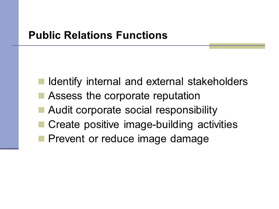 F I G U R E 1 3 . 1 Public Relations Functions