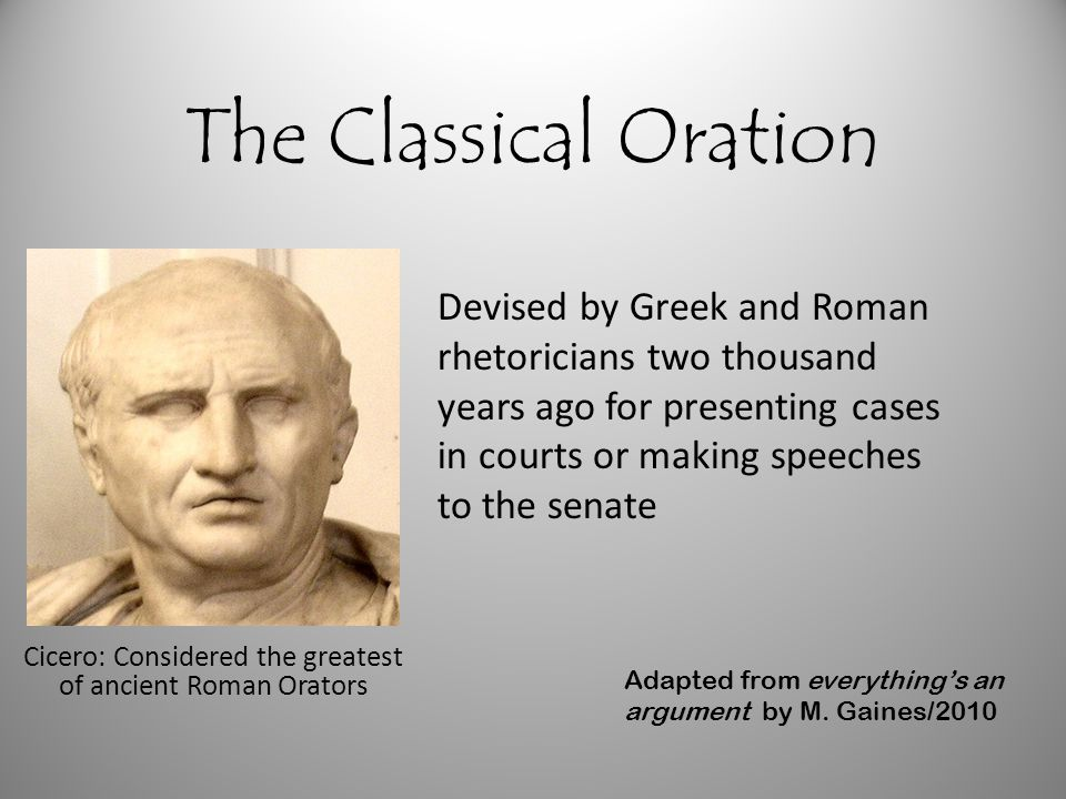Cicero: Considered the greatest of ancient Roman Orators