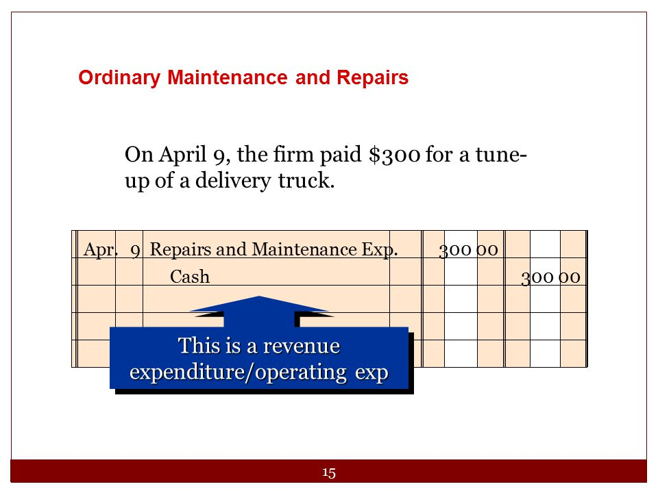 This is a revenue expenditure/operating exp