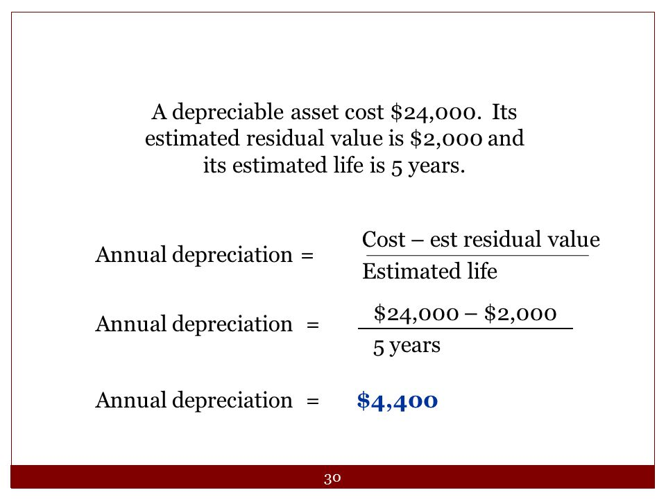 A depreciable asset cost $24,000. Its estimated residual value is $2,000 and its estimated life is 5 years.