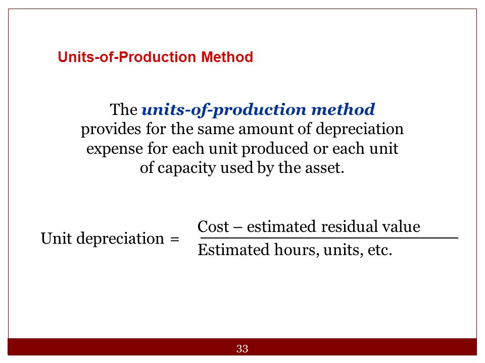 Cost – estimated residual value Estimated hours, units, etc.
