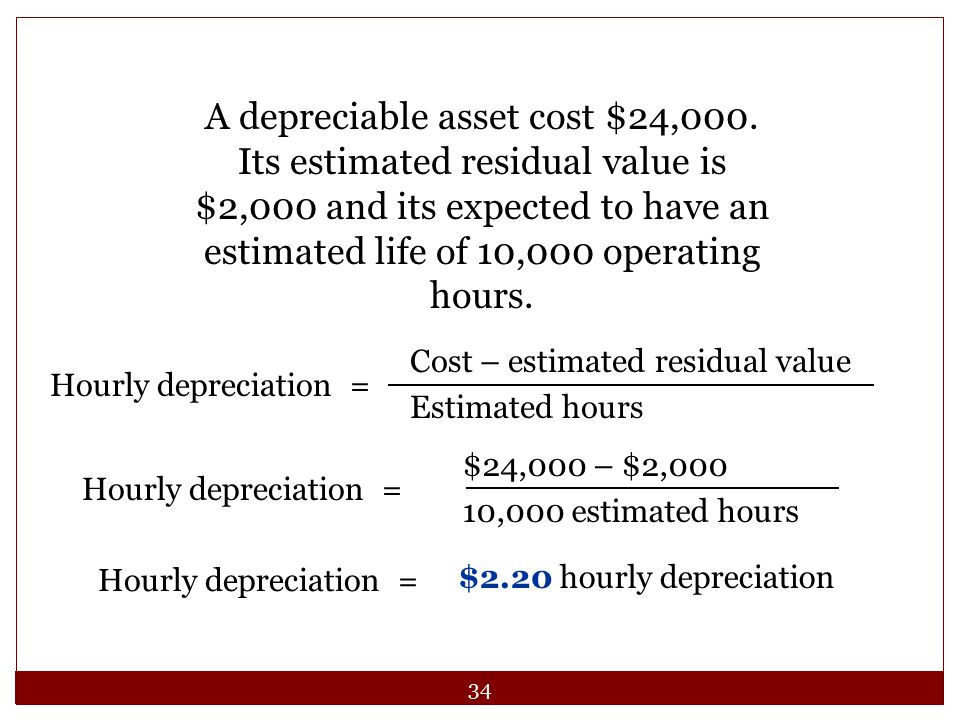 A depreciable asset cost $24,000. Its estimated residual value is $2,000 and its expected to have an estimated life of 10,000 operating hours.