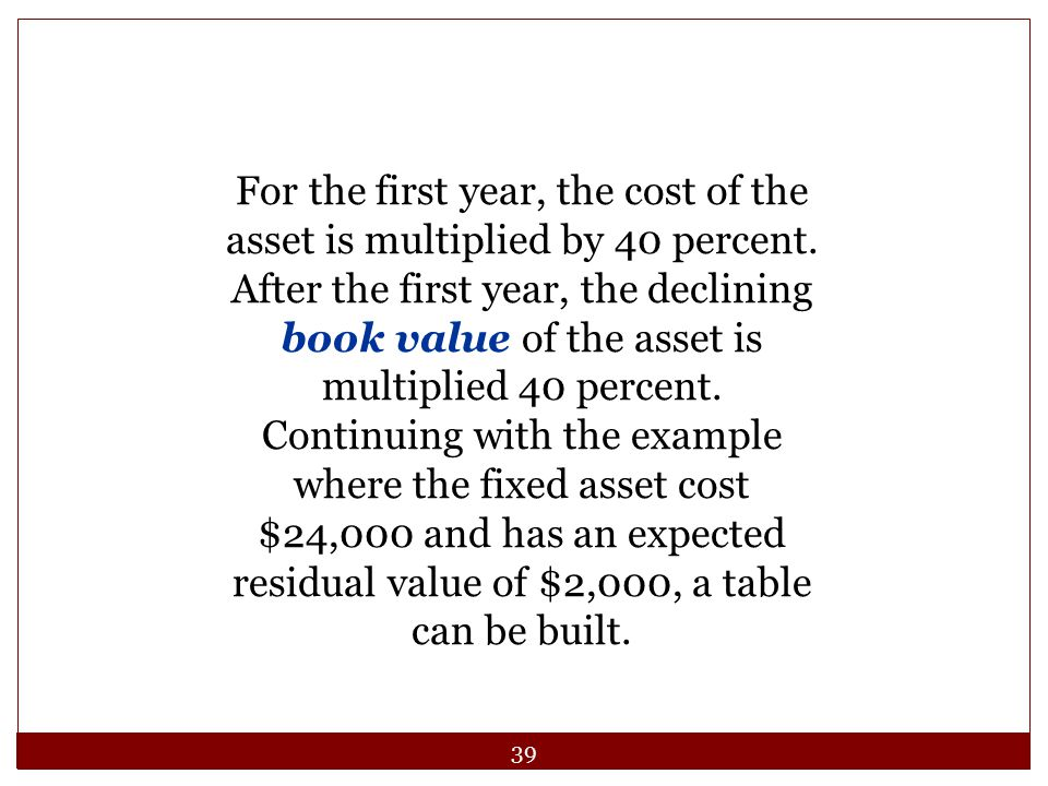 For the first year, the cost of the asset is multiplied by 40 percent.