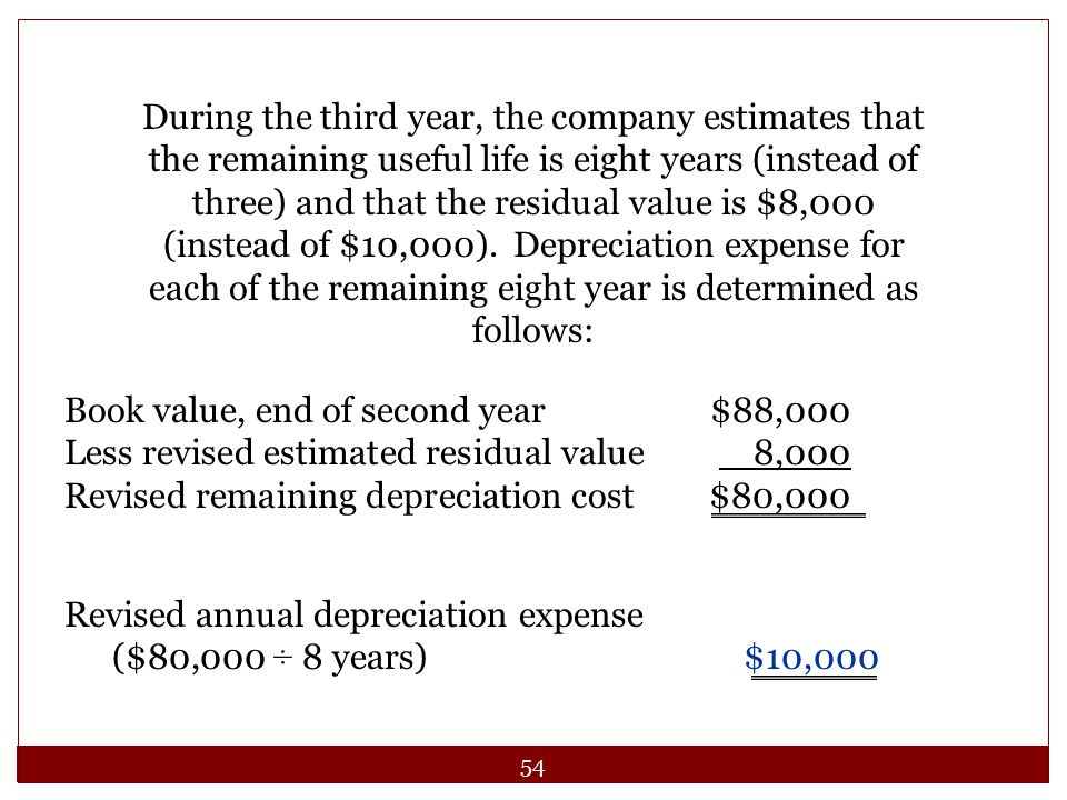 During the third year, the company estimates that the remaining useful life is eight years (instead of three) and that the residual value is $8,000 (instead of $10,000). Depreciation expense for each of the remaining eight year is determined as follows: