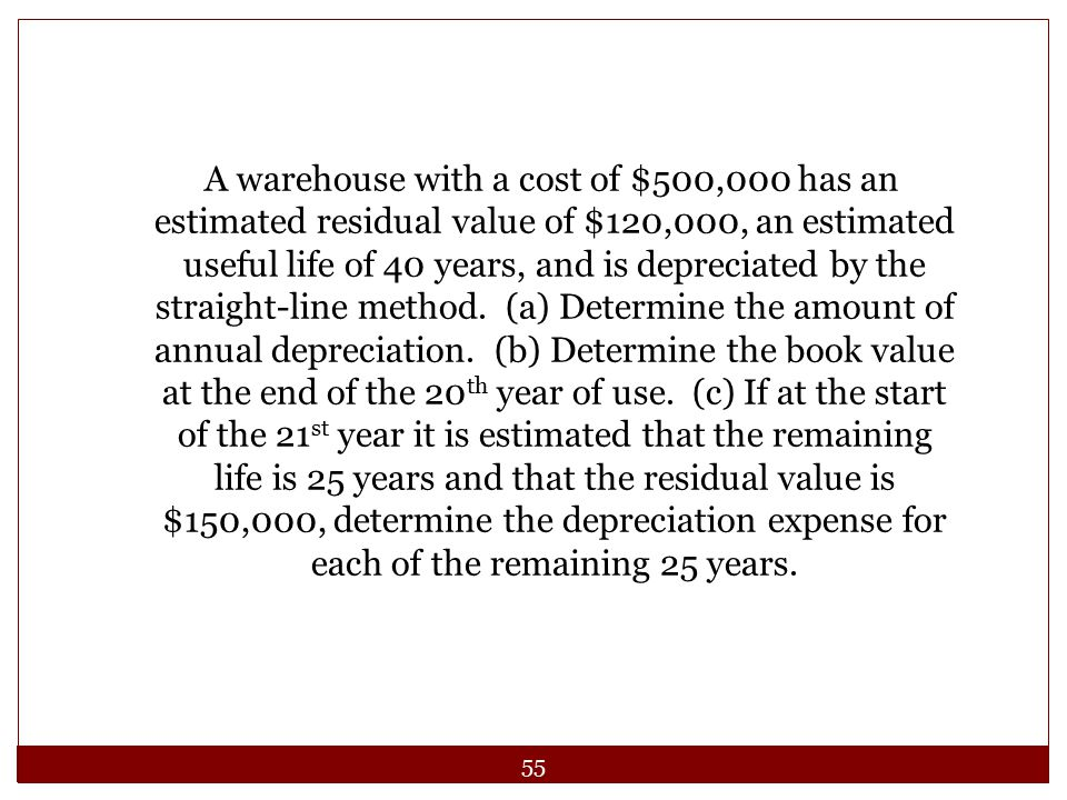 A warehouse with a cost of $500,000 has an estimated residual value of $120,000, an estimated useful life of 40 years, and is depreciated by the straight-line method.