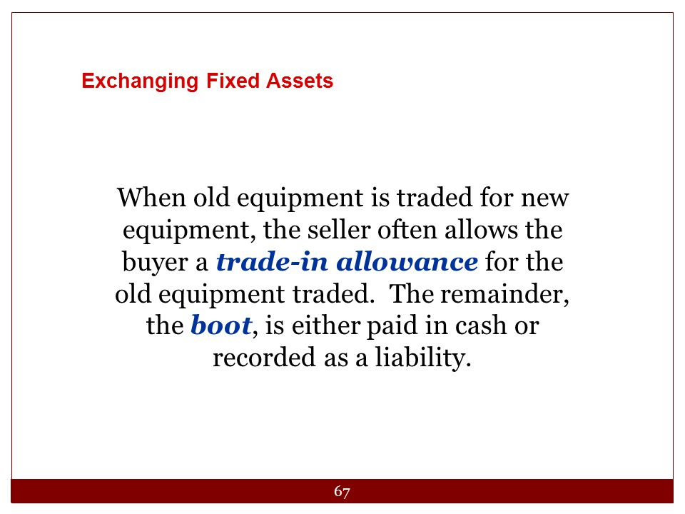 Exchanging Fixed Assets