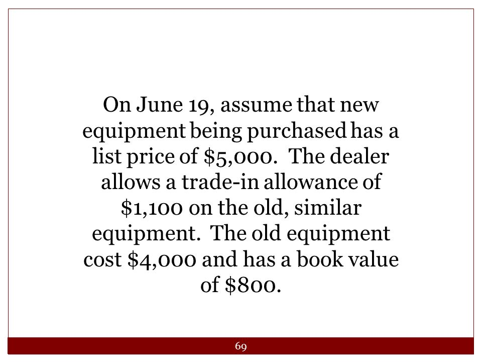 On June 19, assume that new equipment being purchased has a list price of $5,000.