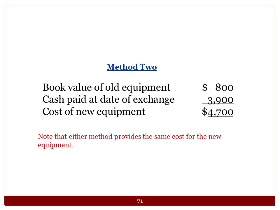 Book value of old equipment $ 800 Cash paid at date of exchange 3,900