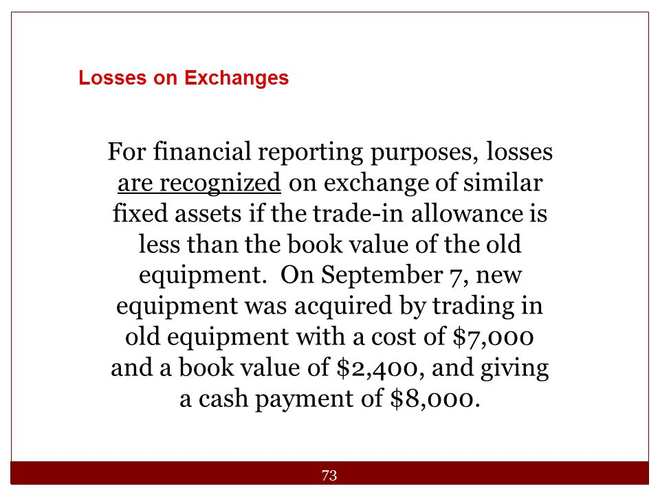 Losses on Exchanges