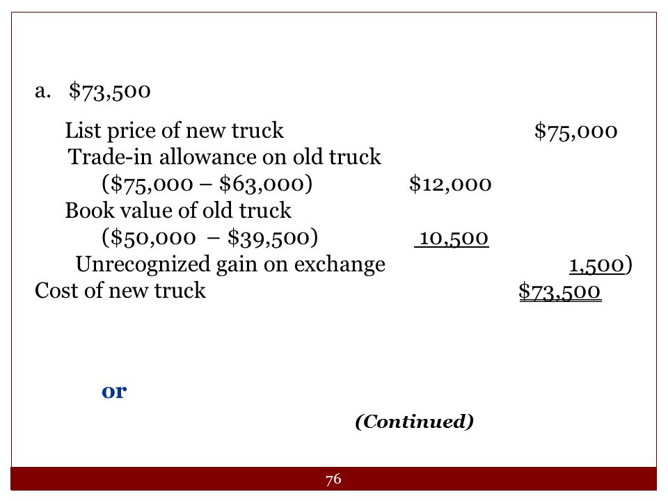 List price of new truck $75,000 Trade-in allowance on old truck