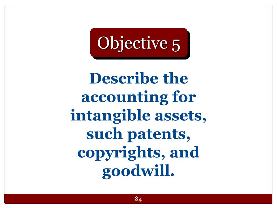 Objective 5 Describe the accounting for intangible assets, such patents, copyrights, and goodwill.