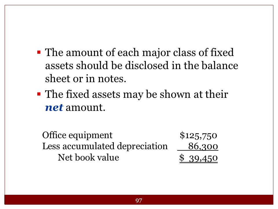 The fixed assets may be shown at their net amount.