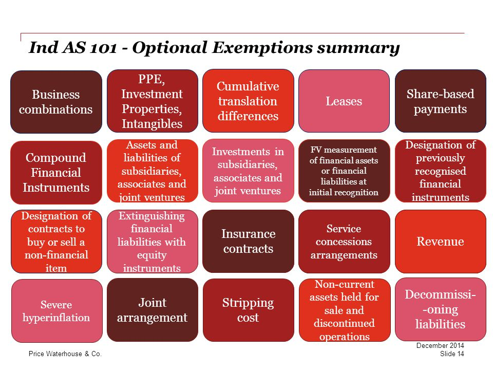 Ind AS 101 - Optional Exemptions summary