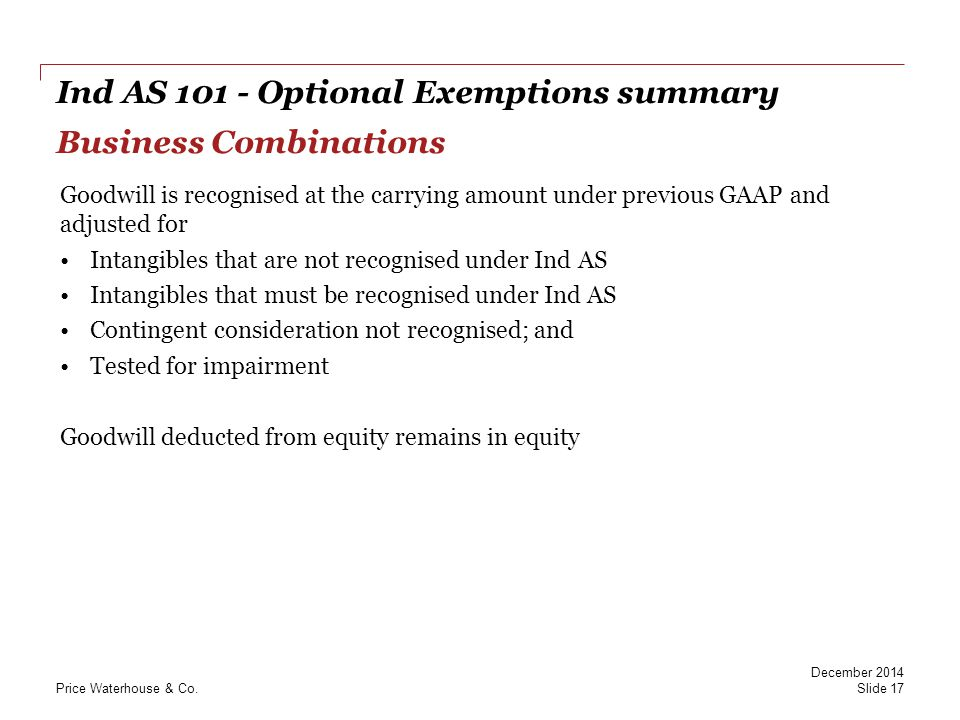 Ind AS 101 - Optional Exemptions summary Business Combinations