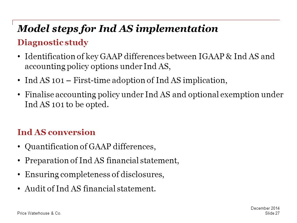 Model steps for Ind AS implementation