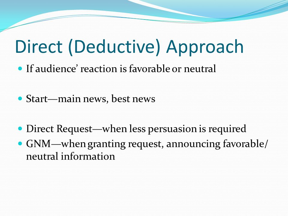 Direct (Deductive) Approach