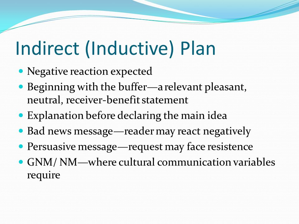 Indirect (Inductive) Plan