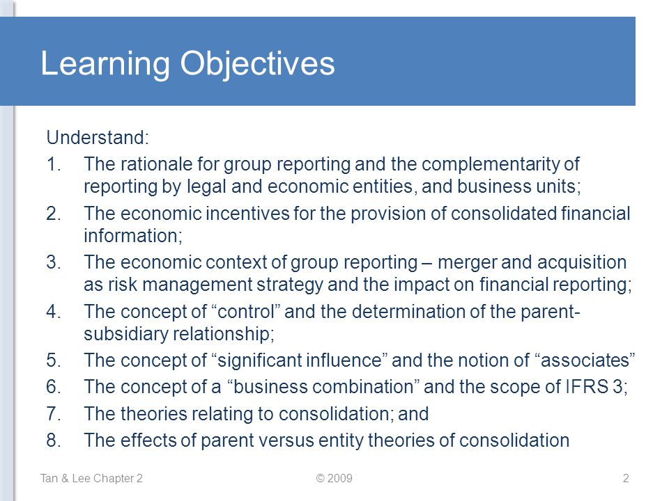Learning Objectives Understand: