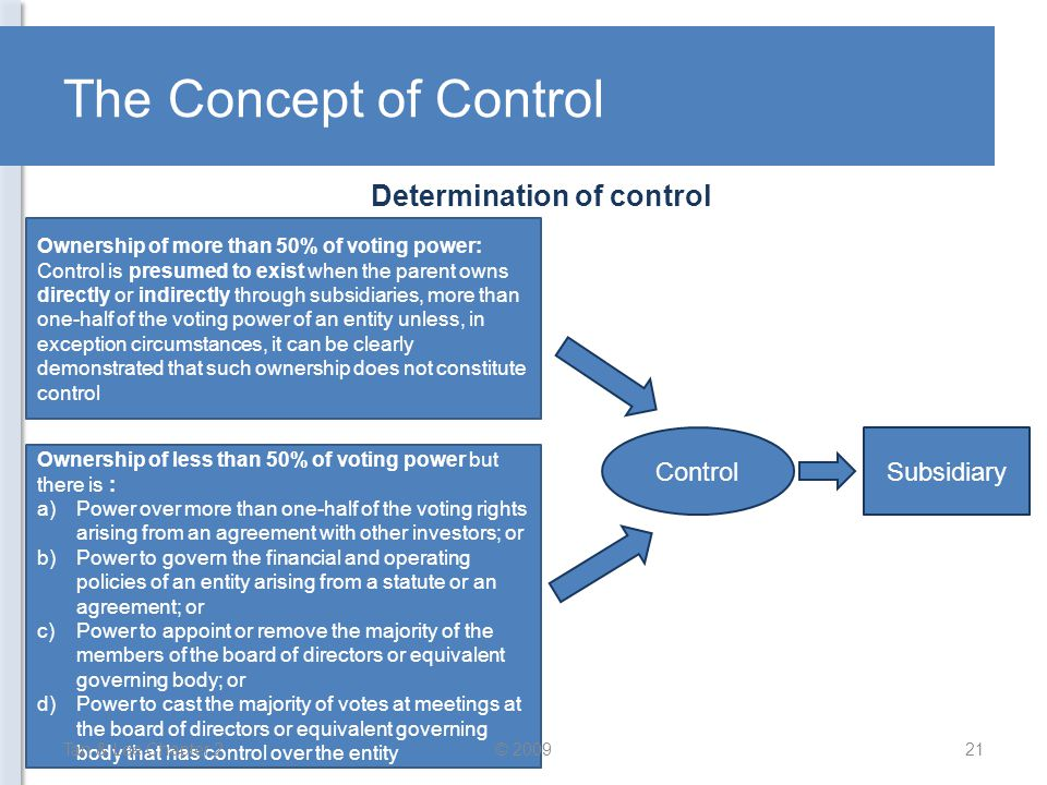 Determination of control