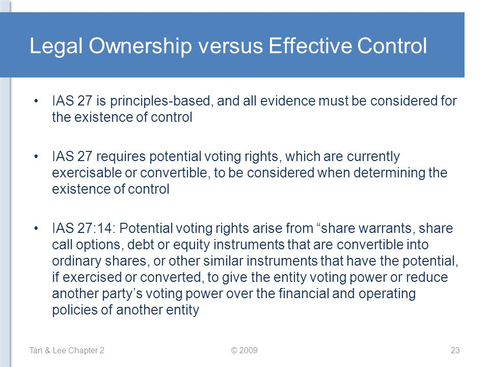 Legal Ownership versus Effective Control