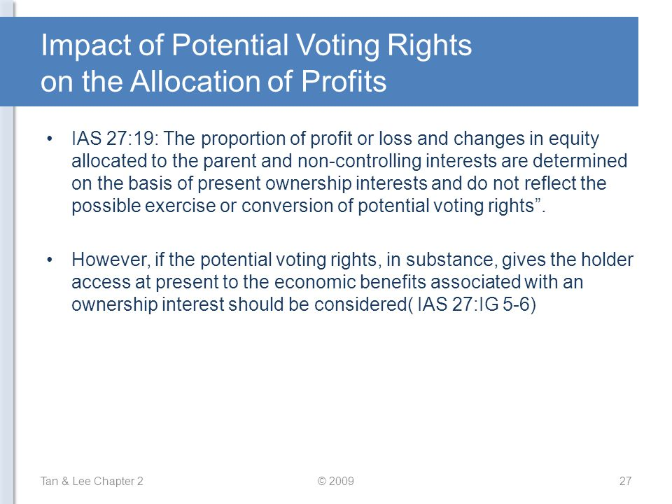 Impact of Potential Voting Rights on the Allocation of Profits