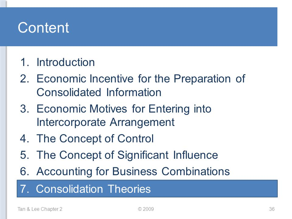Content Introduction. Economic Incentive for the Preparation of Consolidated Information.