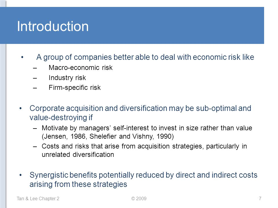 Introduction A group of companies better able to deal with economic risk like. Macro-economic risk.