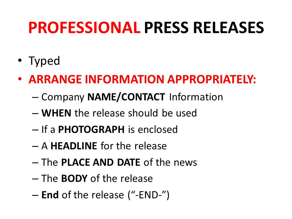 PROFESSIONAL PRESS RELEASES