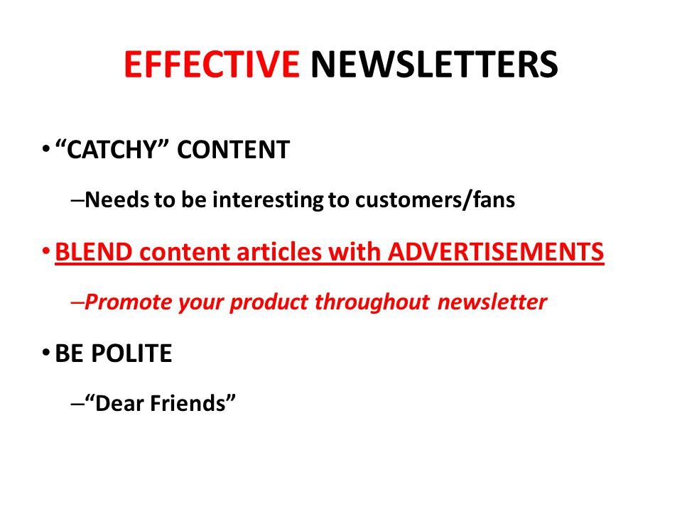 EFFECTIVE NEWSLETTERS