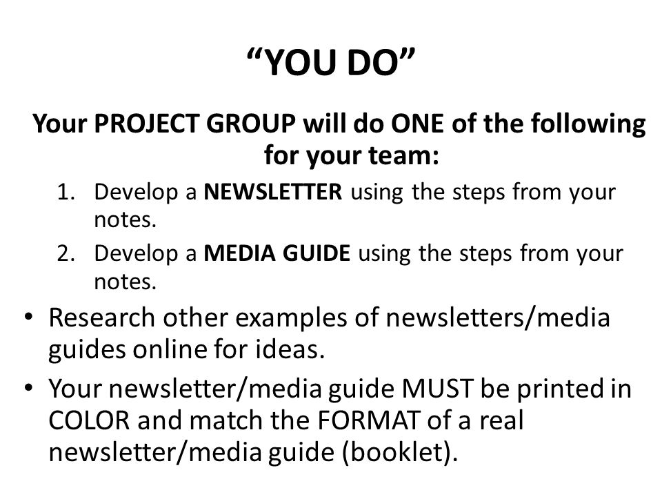 Your PROJECT GROUP will do ONE of the following for your team: