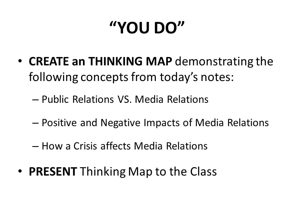 YOU DO CREATE an THINKING MAP demonstrating the following concepts from today's notes: Public Relations VS. Media Relations.