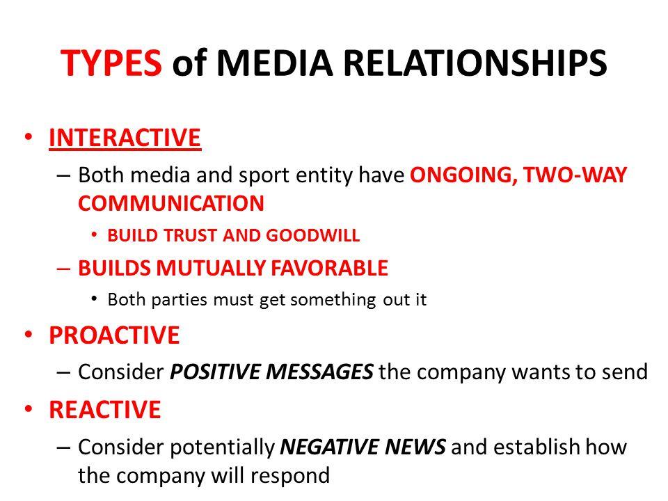 TYPES of MEDIA RELATIONSHIPS