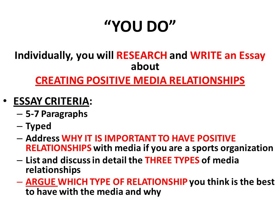 YOU DO Individually, you will RESEARCH and WRITE an Essay about