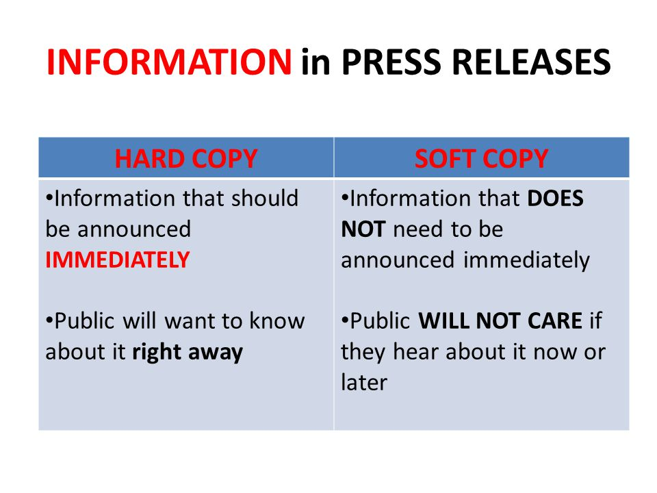 INFORMATION in PRESS RELEASES