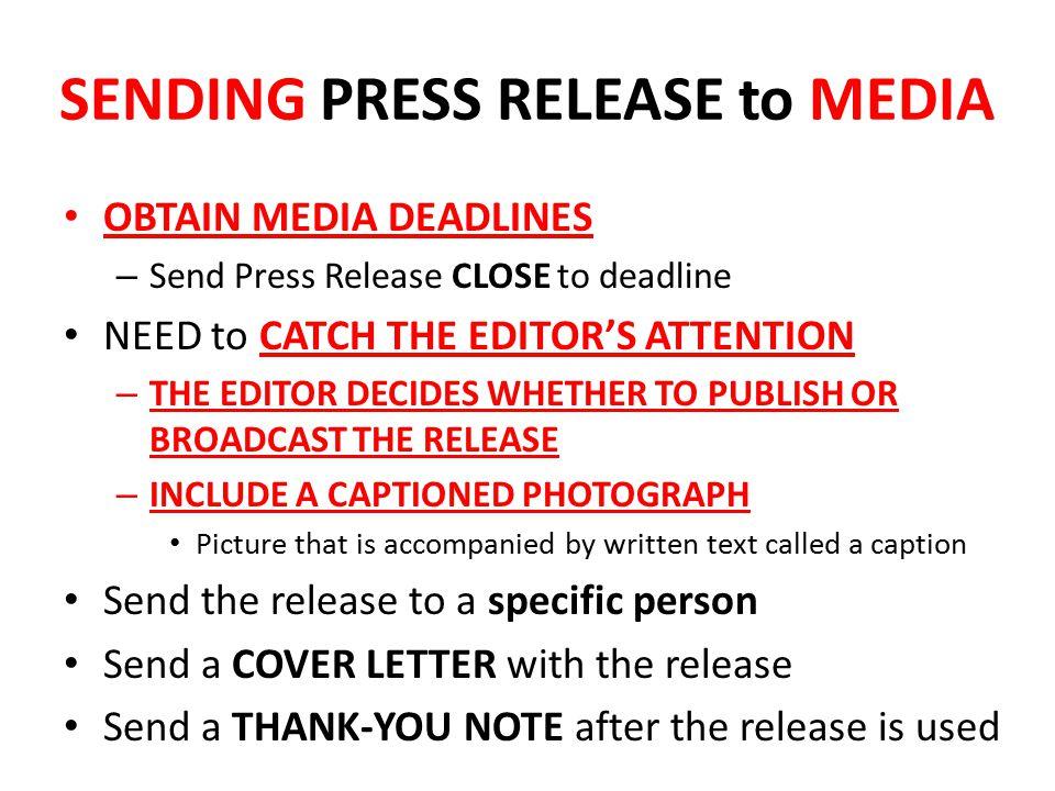 SENDING PRESS RELEASE to MEDIA