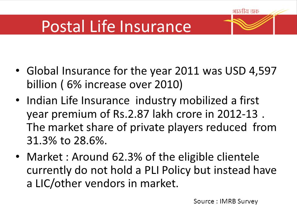 Postal Life Insurance Global Insurance for the year 2011 was USD 4,597 billion ( 6% increase over 2010)