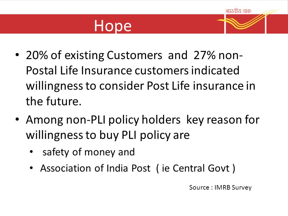 Hope 20% of existing Customers and 27% non- Postal Life Insurance customers indicated willingness to consider Post Life insurance in the future.