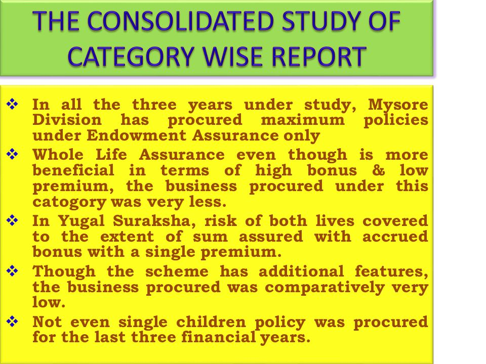 THE CONSOLIDATED STUDY OF CATEGORY WISE REPORT