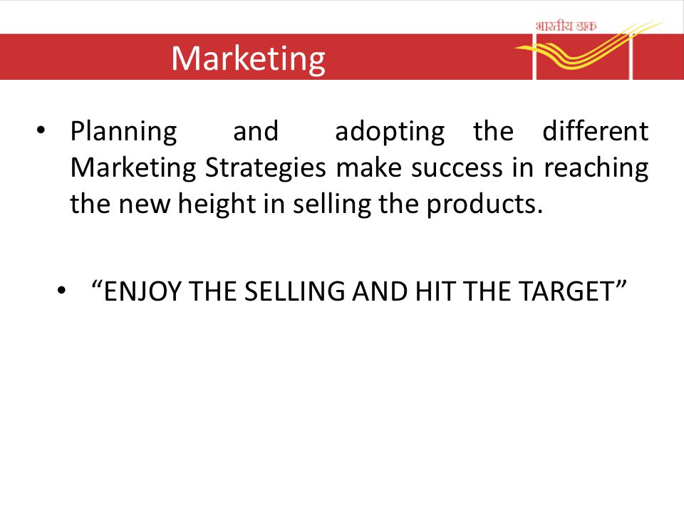 ENJOY THE SELLING AND HIT THE TARGET