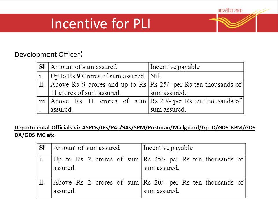 Incentive for PLI Development Officer: Sl Amount of sum assured