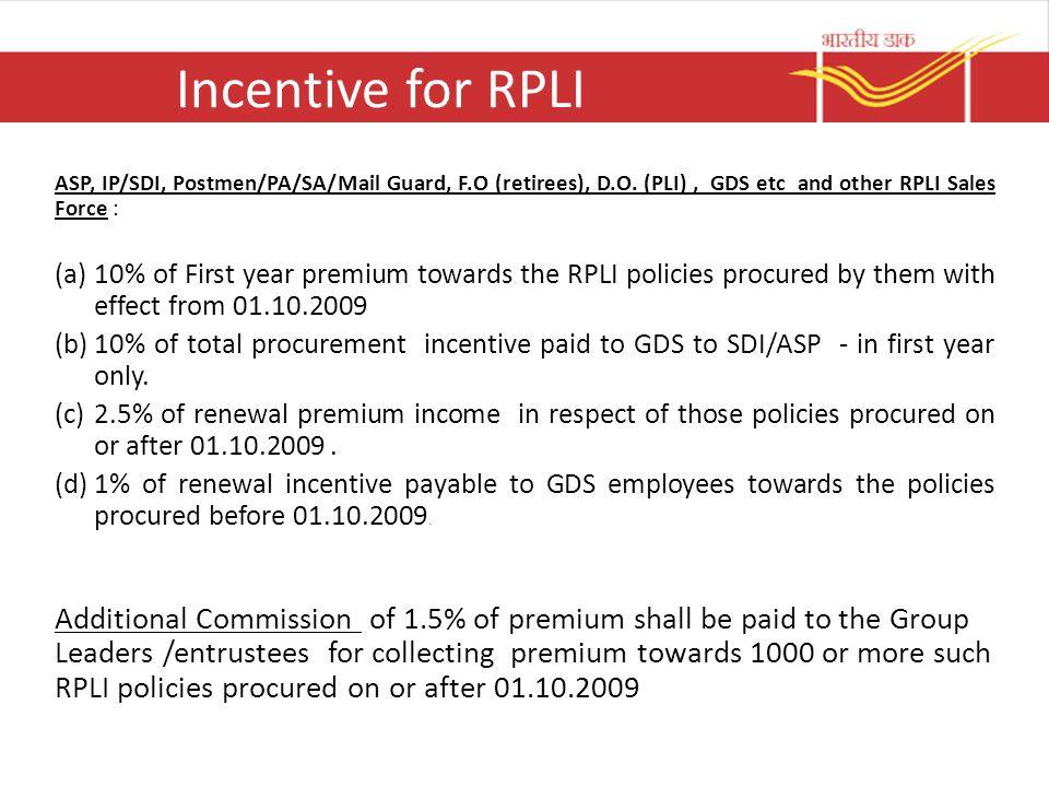 Incentive for RPLI ASP, IP/SDI, Postmen/PA/SA/Mail Guard, F.O (retirees), D.O. (PLI) , GDS etc and other RPLI Sales Force :