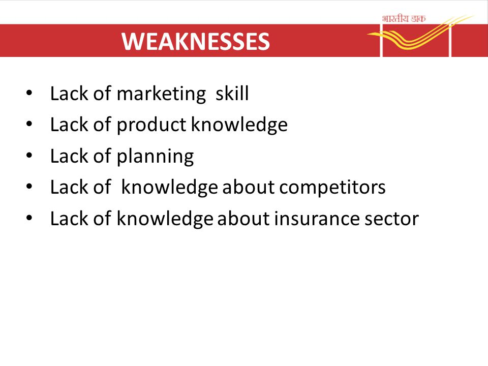 WEAKNESSES Lack of marketing skill Lack of product knowledge