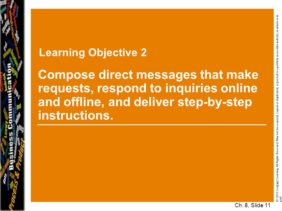 Learning Objective 2 Compose direct messages that make requests, respond to inquiries online and offline, and deliver step-by-step instructions.