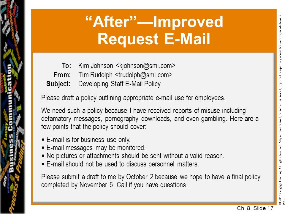 After —Improved Request E-Mail