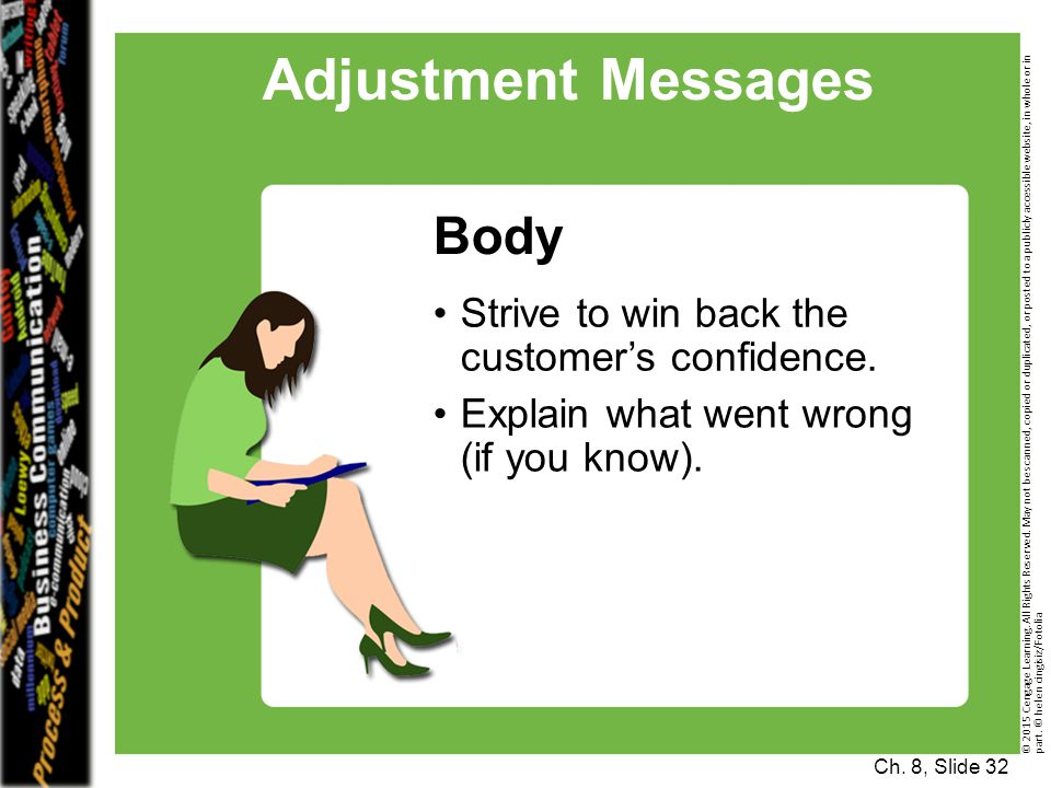 Adjustment Messages Body Strive to win back the customer's confidence.