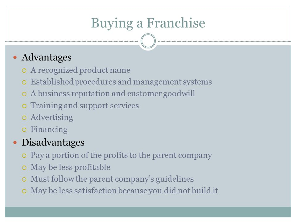 Buying a Franchise Advantages Disadvantages A recognized product name
