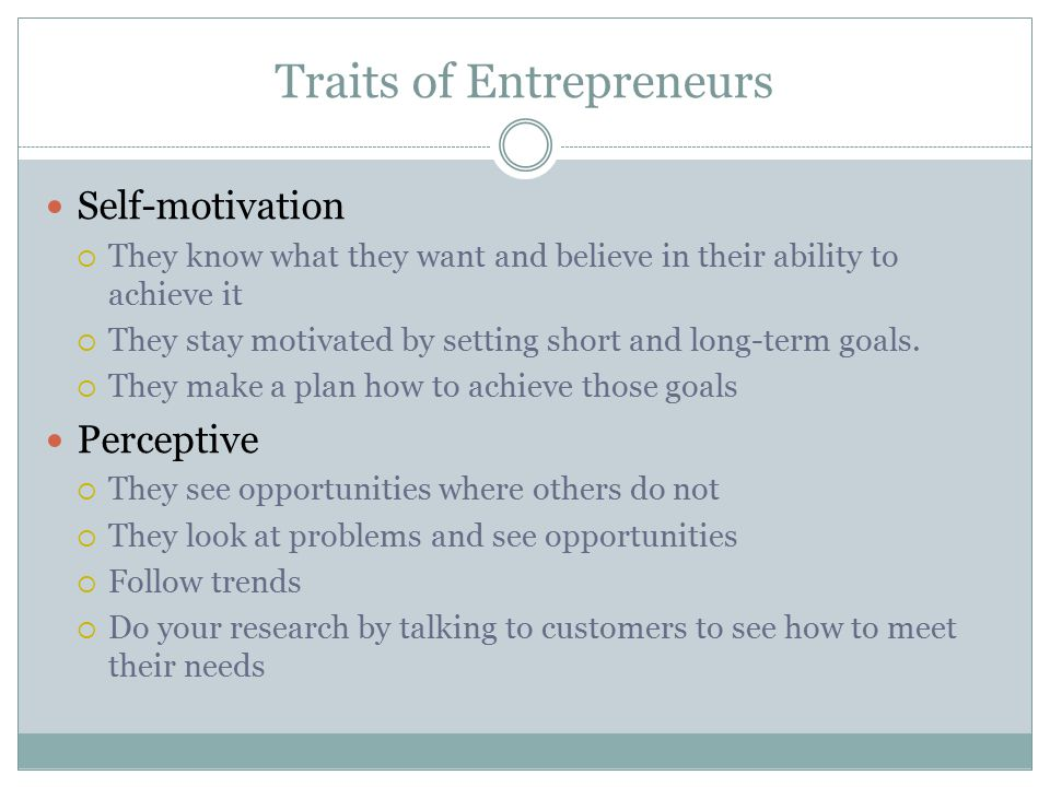 Traits of Entrepreneurs